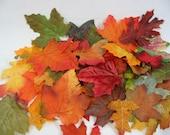 Fall Silk Leaves Autumn Maple Oak Wedding Party Confetti Table Decor Orange Green Rust Yellow 120 Leaves