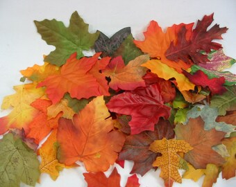Fall Silk Leaves Autumn Maple Oak Wedding Party Confetti Table Decor Orange Green Rust Yellow 120 Leaves