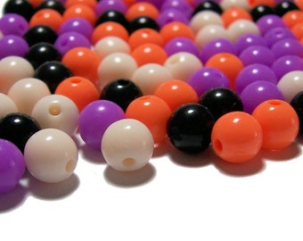 8mm Smooth Round Acrylic Bead mix Halloween colors 100pcs