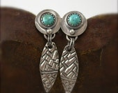 Sterling and Turquoise Textured Earrings