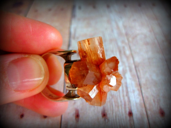 ARAGONITE - Aragonite Crystal Cluster ring on Sterling Silver Ring band Size 7.5  Glam Rock Cocktail Ring