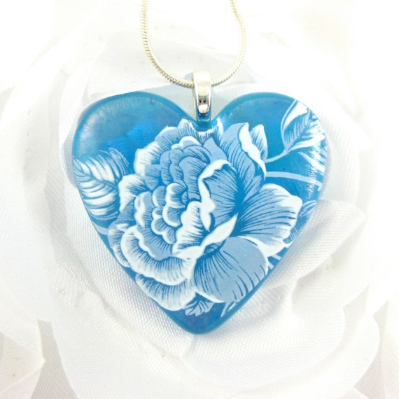 Glass Heart Necklace Turquoise Fused Glass with Flowers