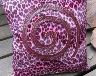 Faux pink leopard and leather pillow
