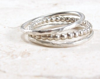 Silver Ring Stack -  Stacking Rings -  Hammered Rings