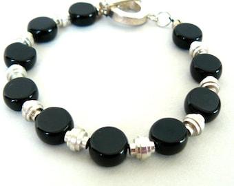 Black and Silver Bracelet, Jet Black Glass Bead Jewelry, Modern Jewelry  Everyday Bracelet, Minimal Simple Style, Gift For Her