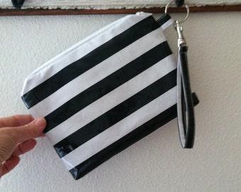 Beth's Oilcloth Stripes Zipper Pouch Wristlet