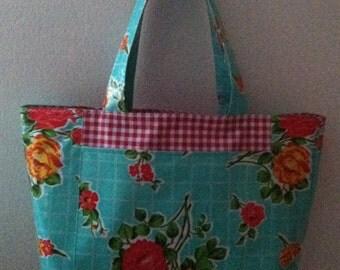 Beth's Big Aqua Vintage Rose Oilcloth Tote Bag with Exterior Pockets