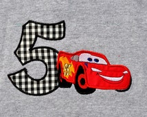 Lightning McQueen birthday shirt with name monogram