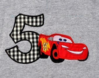 Lightning McQueen birthday shirt with name monogram