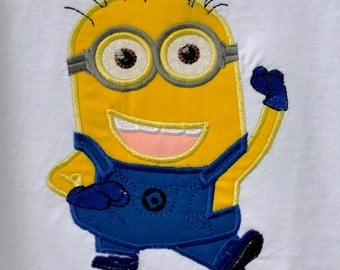 Two eyed minion  appliqué on Tshirt