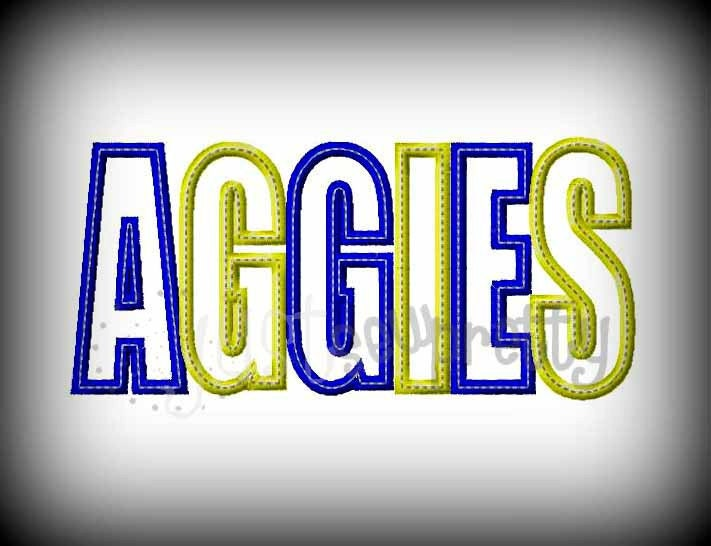 Aggies word embroidery applique design
