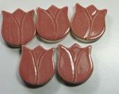 Pink Tulip Mosaic Tiles - Handmade clay tiles