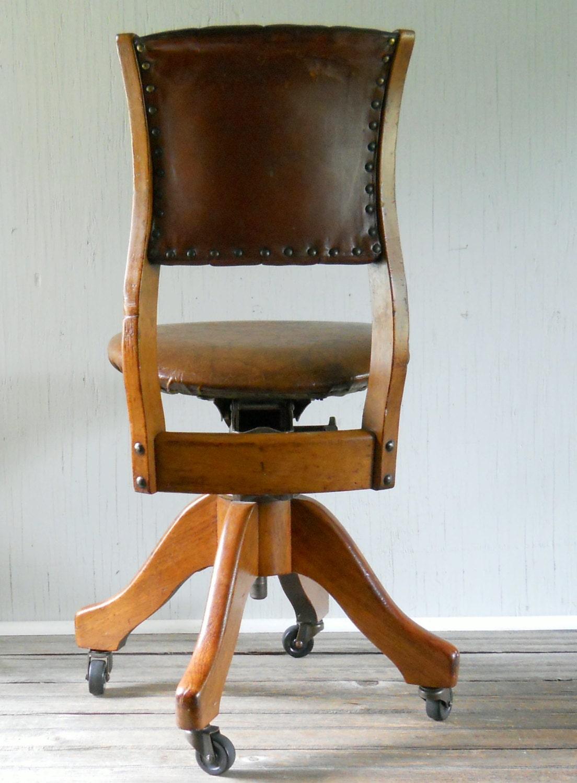Vintage W H Gunlocke Rolling Office Chair