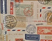 Travel fabric postage stamp mail interior home decorating material 1 yard