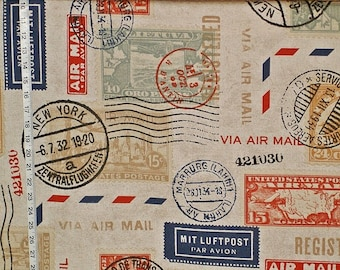 Travel fabric postage stamp fabric postal stamp mail fabric historical fabric home decorating fabric FREE SHIPPING 1 yard