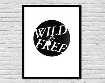 Wild & Free || Thoreau Print, Children's Art Print Poster, Nursery Art, Children's Room