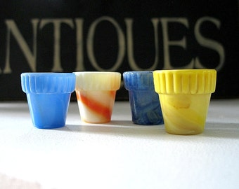 Vintage Akro Agate Thumb Pots, Flower Pots, Miniature Planters, Marbleized Slag Glass, Tiny Flower Pots, Yellow Orange Blue, 1930s