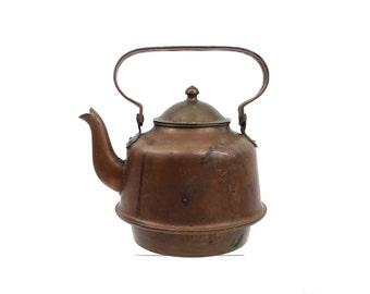 1920s Copper Teapot, Original Patina, Large Size