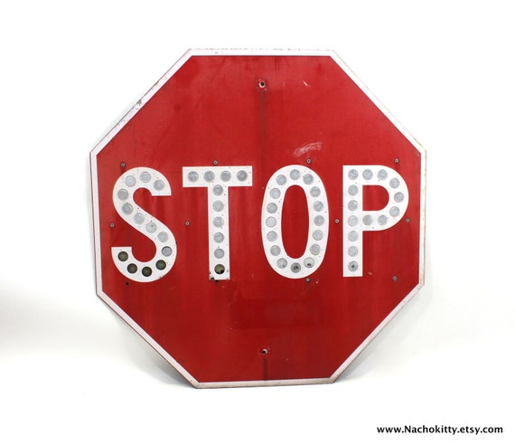 1970s Stop Sign, Huge Vintage Metal Traffic Road Sign