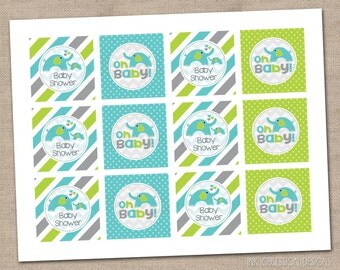 Instant Download Baby Shower Cupcake Toppers Printable PDF Elephants and Boys Blue & Green Polka Dots and Stripes