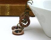 Circle Boho Beaded Dangle Earrings Brass Leverback Geometric Dangle Earrings / Lightweight