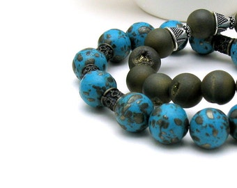 Teal  Blue  Magnesite  Pyrite Minimalist  Beaded Bracelet Brass   Stretch Bracelet For Her Under 55
