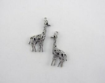 Pair of Silver-tone Giraffe Charms Rhinestones