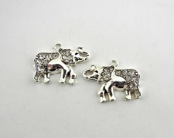 Pair of Silver-tone Facing Elephant Charms with Rhinestones
