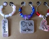 Diva wine charm set (of 3), wine glass charms, gift for her, wedding gift, bridal shower gift, housewarming gift, drink charms, bachelorette