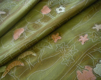Vintage silk Japanese kimono fabric (green,brown)very good condition(half width)