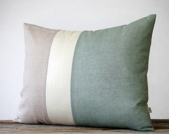 Color Block Pillow (16x20) Sage, Cream and Natural Linen | Spring Home Decor | Nautical Striped Trio (more colors) | Hemlock