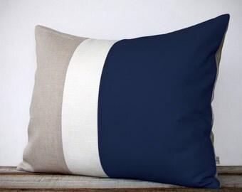 Color Block Pillow (16x20) Navy, Cream and Natural Linen - Coastal Home Decor - Nautical Striped Trio - Beach House - Bedding
