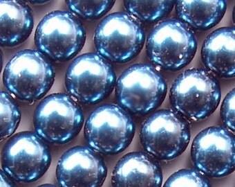 Czech Glass Pearl Beads 8mm Montana Blue 17646 8mm Blue Pearls, 8mm Round Beads, 8mm Preciosa Beads, Czech Pearl Beads, Czech Beads