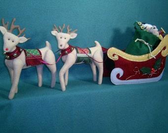 Cloth Doll E-Pattern - Santa's Sleigh and Reindeer Epattern