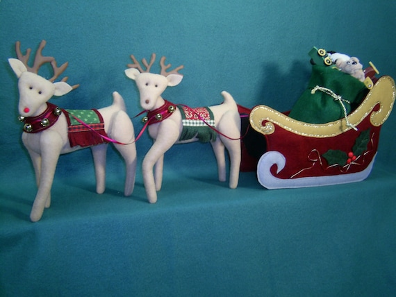 Cloth Doll E-Pattern - Santa's Sleigh and Reindeer Epattern