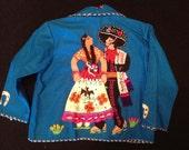 1950's Child's Mexican Souvenir Applique Wool Jacket