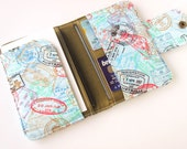 Fabric Passport Wallet - Cover - Holder for Two (2) OR Four (4) Passports in World Travel Stamps - Olive Green Lining - Made to Order