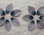 12 pc SILVER VELVET Embossed LEAF Leaves Applique Fairy Bow Scrapbooking Card Making Bridal Hair Accessory