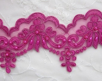 Embellished  Alecon Lace Beaded FUCHSIA Trim w Pearls Sequins Bridal