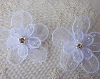 2 pc WHITE Organza flower applique w pearl bead crystal rhinestone Christening Hat Bridal Pin barrette headband hair accessory