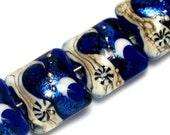 Glass Lampwork Bead Set - Four Cobalt Celestial Pillow Beads 10411414