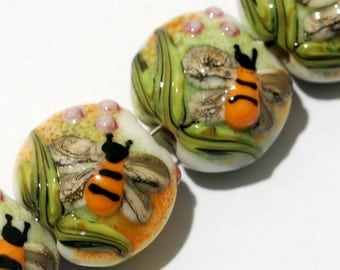 Glass Lampwork Bead Set - Seven Bumble Bee Garden Lentil Beads 11007302