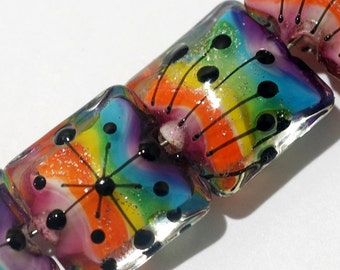 11008214 - Four Rainbow Balloons Pillow Beads - Grace Lampwork Beads