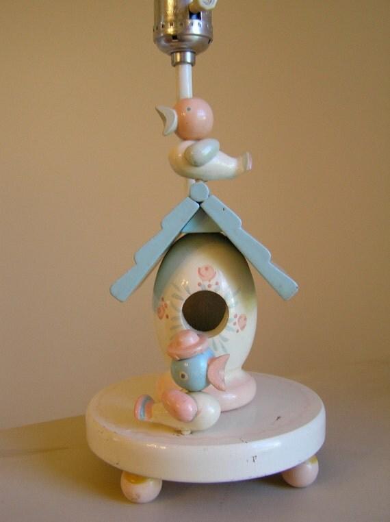vintage irmi birdhouse nursery lamp with by sweetlilystudio. Black Bedroom Furniture Sets. Home Design Ideas