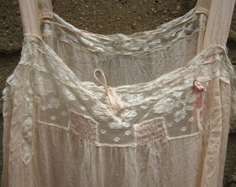Victorian Pink SIlk Teddy w Lace Sweet Delicate Size Small