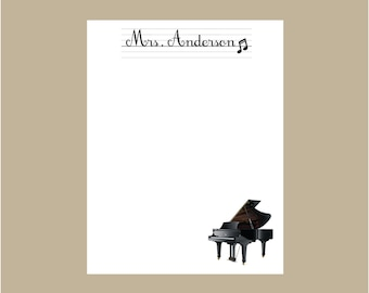 Piano Notepad, Music Teacher notepad, Personalized Notepad, Teacher gift, stocking stuffer