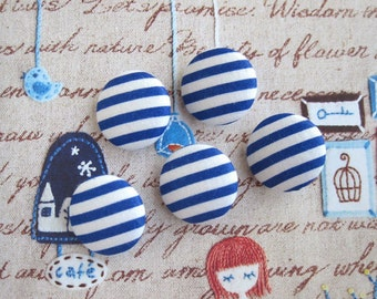 Fabric Buttons, Nautical Sky Blue White Nautical Stripes Fabric Covered Buttons, Nautical Stripes Fridge Magnets, Flat Back, CHOOSE SIZE 5's