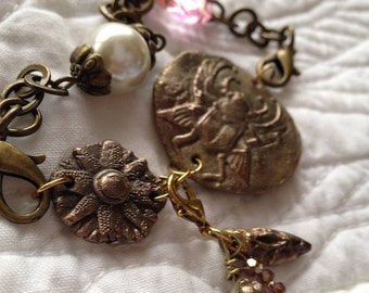 Wondrousstrange Design Stroll Through the Pyramids Charm  Bracelet  Steampunk  Bronze Statement Pearl Pink