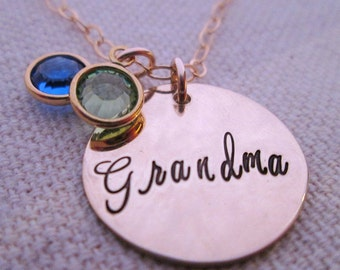 Grandma Necklace -  Personalized Jewelry  - Hand Stamped Necklace - Birthstone Jewelry