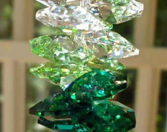 "Swarovski's (retired) 45mm Crystal Leaf Prism with Swarovski Octagons in Medley of Clear and Green Tones, Window Suncatcher - ""IVY"""